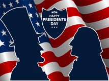 Happy Presidents Day in USA Background. George Washington and Abraham Lincoln silhouettes with flag as background. United States of America celebration. Vector Royalty Free Stock Image