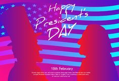 Happy Presidents Day in USA Background. George Washington and Abraham Lincoln silhouettes with flag as background. Soft color gradient background Royalty Free Stock Image