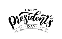 Happy Presidents day. Vector illustration. Hand drawn text lettering stock photography