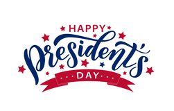 Happy Presidents day. Vector illustration. Hand drawn text lettering stock photos