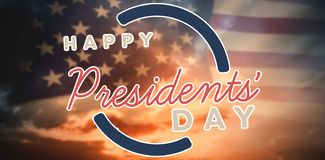 Composite image of happy presidents day. vector typography royalty free illustration