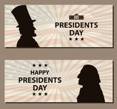 Happy Presidents Day Vintage banner. George Washington and Abraham Lincoln silhouettes with flag as background. United States of America celebration. Vector Stock Photography