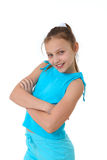Happy preteen girl. Portrait of a preteen girl smiling and  on a white background Royalty Free Stock Photography