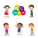 Happy preteen kids cartoon characters Stock Photos