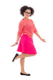 Happy pretty african american teenage girl in pink isolated on w Royalty Free Stock Photos