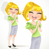 Happy pretty blond girl claps and laughs Royalty Free Stock Photography