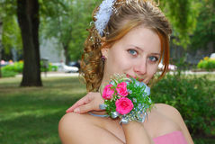 Happy pretty bride Stock Photos