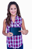 Happy pretty brunette showing tablet computer Stock Photos