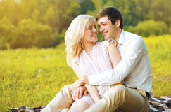 Happy pretty couple in love having fun outdoors Royalty Free Stock Photo