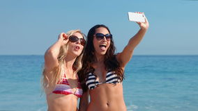 Happy pretty friends taking a selfie at the beach. Video of happy pretty friends taking a selfie at the beach stock video
