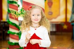 Happy pretty girl kid celebrate her birthday party. Positive human emotions feelings joy. stock photography