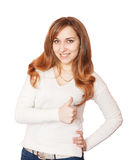 Happy pretty girl thumbs up. Royalty Free Stock Image
