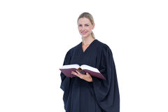 Happy pretty lawyer holding labor code. On white background Stock Image