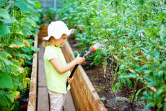 Happy pretty little girl gardener in uniform watering plants wit Royalty Free Stock Photography