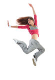 Happy pretty modern slim hip-hop style woman dancer dancing jum Stock Image