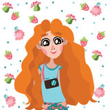 Happy and pretty photographer ginger girl vector character with flower and fruit pattern around her. Royalty Free Stock Images