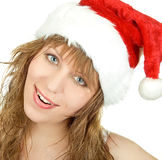 Happy pretty santa woman Royalty Free Stock Photo