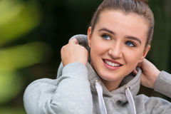 Happy Pretty Teenage Girl Young Woman Wearing Hoody Royalty Free Stock Photography