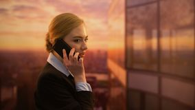 Happy pretty woman calling travel agency, booking trip for vacation, good news. Stock footage stock video