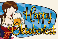 Happy Pretty Woman Celebrating Oktoberfest with a Stein, Vector Illustration. Banner with smiling beauty woman winking at you and holding a beer to celebrate Royalty Free Stock Photo