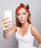 Happy pretty woman making a selfie Royalty Free Stock Photo