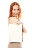 Happy pretty woman showing blank signboard Royalty Free Stock Photo