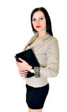 Happy pretty woman using laptop. Happy pretty woman holding laptop on white background Stock Photos