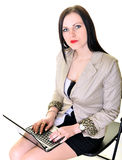 Happy pretty woman using laptop Royalty Free Stock Photos