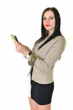 Happy pretty woman using laptop. Happy pretty woman holding laptop on white background Royalty Free Stock Images