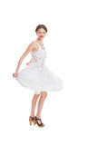 Happy pretty woman in white summer dress posing Royalty Free Stock Image