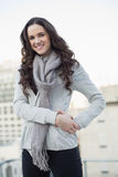 Happy pretty woman in winter clothes posing Royalty Free Stock Images
