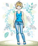 Happy pretty young blonde woman standing on background of spring. Ecology landscape with delicate blue leaves and wearing fashionable casual clothes. Vector Royalty Free Stock Photos