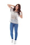 Happy pretty young brunette woman Royalty Free Stock Photos
