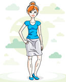 Happy pretty young red-haired woman standing on nature backdrop. With blue sky and clouds. Vector character Stock Image