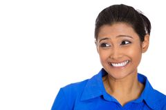 Happy pretty young woman wearing blue shirt. Closeup head shot portrait of confident smiling happy pretty young woman wearing blue shirt, isolated on white Stock Image
