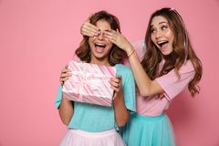 Happy pretty young woman covering eyes of her sister giving gift. Happy pretty young women covering eyes of her sister giving gift box at birthday party stock images