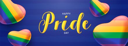 Happy Pride Day banner concept with glossy heartshapes in rainbow color . Happy Pride Day banner concept with glossy heartshapes in rainbow color on blue stock illustration