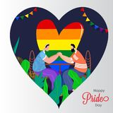 Happy Pride Day concept for LGBTQ community with gay couple holding hands and rainbow color freedom. royalty free illustration