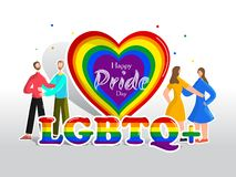 Happy Pride Day concept for LGBTQ community with Gay and Lesbian couple and rainbow color heartshape. royalty free illustration