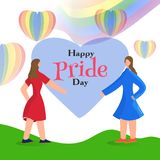 Happy Pride Day concept with young lesbian couple and rainbow color hot air balloons. royalty free illustration
