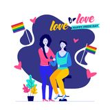 Happy Pride Day, Love is Love concept with lesbian couple. royalty free illustration