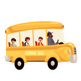 Happy primary students riding school bus Royalty Free Stock Images