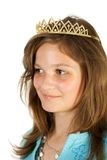 Happy princess. Young pretty girl like princess. Isolate on white Royalty Free Stock Photos
