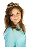 Happy princess. Young pretty girl like princess. Isolate on white Royalty Free Stock Images