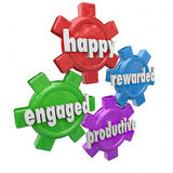 Happy Productive Engaged Rewarded Efficient Workforce Qualities. Happy, Engaged, Rewarded and Productive words on 3d gears to illustrate an employer and vector illustration