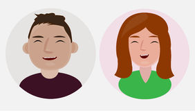 Happy profile pictures. Characters, profile pictures clipart. Happy faces Stock Images