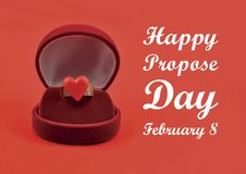 Happy propose day illustration. Ring with red heart images. Ring in gift box. Propose day concept. Ring heart shaped. Ring of love on a red background. Important royalty free stock images