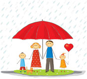 Happy protected family. Happy family with umbrella, protected Stock Image