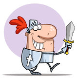 Happy proud knight. Proud knight walking tall in his armor, holding a sword and shield stock illustration