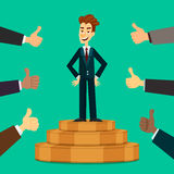 Happy and proud young businessman or manager on the podium with many thumbs up hands around him. Business compliment Stock Images